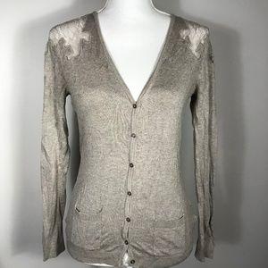 Janeskar Brown Light Cardigan Sweater Lace Detail